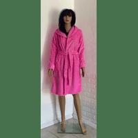 Короткий махровый халат на запах с капюшоном 50