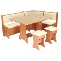 Кухонний куточок: стіл розкладний + м'який куточок з 2-ма ящиками під сидіннями + 2 табурета