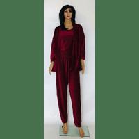Домашний комплект велюровый тройка халат,топ,брюки