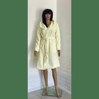 Короткий махровый халат на запах с капюшоном 44