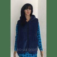 Женская махровая жилетка с капюшоном на молнии 50