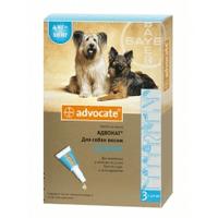 Advocate капли на холку против паразитов для собак от 4 до 10 кг . 1 пипетка
