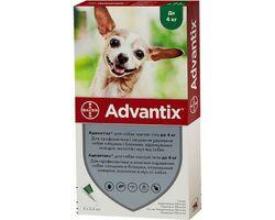 Капли от блох и клещей Bayer Advantix для собак весом до 4 кг, цена за 1 пипетку