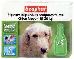 Beaphar капли Bio Spot On для собак средних пород антипаразитаые натуральные капли для собак средних пород (15-30 кг) с 12 недельного возраста Артикул: 15613 Пипетки : 3 пипетки