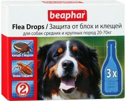 Beaphar капли от блох и клещей для средних и крупных собак капли от блох и клещей для собак средних и крупных пород (20-70 кг) с шестимесячного возраста Артикул: 10827 Пипетки : 3 пипетки