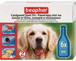 Beaphar Канигард капли Spot On для крупных собак капли от блох и клещей для собак крупных пород и щенков Артикул: 132058 Пипетки : 6 пипеток