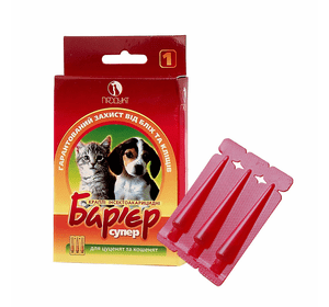Барьер-супер капли инсектоакарицидные от блох и клещей для котят и щенков, дозировка 0,5 мл