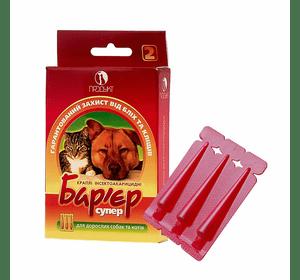 Барьер-супер капли от блох, клещей дозировка 0,5 и 1 мл для взрослых собак и котов