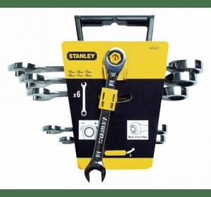 """4-89-907 Stanley Набор из 6-ти комбинированных гаечных ключей с храповым механизмом в головке накидного ключа """"Gear Wrench"""",профиль """"MaxiDrive Plus"""" 10-19 мм"""