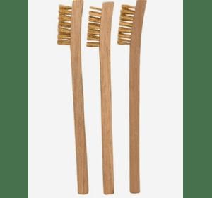 Набор щеток металлических Stanley 0-28-219 с деревянной ручкой, 3 шт., общая длина 195 мм, щетка 40 х 10 мм.