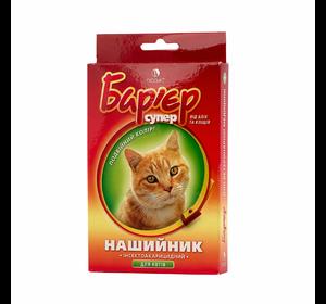 """Ошейник для кошек против блох и клещей """"Барьер"""" желто-красный"""