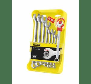 """4-95-660 Stanley Набор из 8-ми комбинированных гаечных ключей """"Ratcheting Wrench"""" 10-19 мм"""