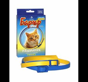 """Ошейник для кошек против блох и клещей """"Барьер"""" желто-синий"""