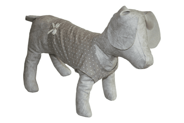 МАЙКА «ГОРОШОК» – тканина тонкий трикотаж віскоза в білий горошок, майка знизу має трикотажну планку та оздоблена бантиком. Для малих та середніх порід. - NaVolyni.com