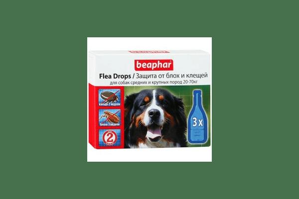 Beaphar капли от блох и клещей для средних и крупных собак  капли от блох и клещей для собак средних и крупных пород (20-70 кг) с шестимесячного возраста Артикул:  10827  Пипетки :   3 пипетки - NaVolyni.com