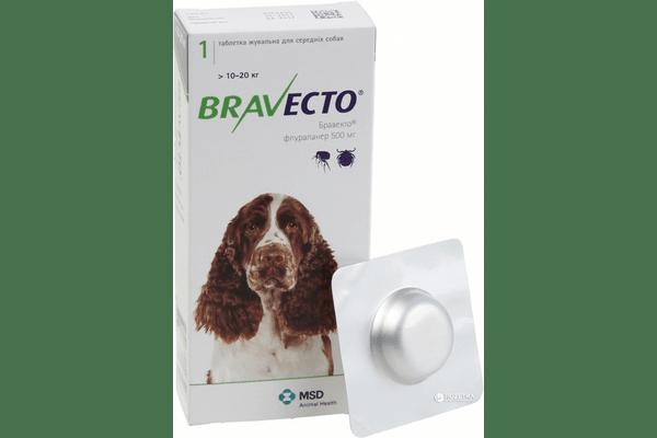 Жевательная таблетка Бравекто от блох и клещей для собак 10 - 20 кг - NaVolyni.com